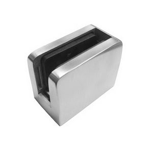 Square Glass Clamp with One Closed Side for Flat Mounting