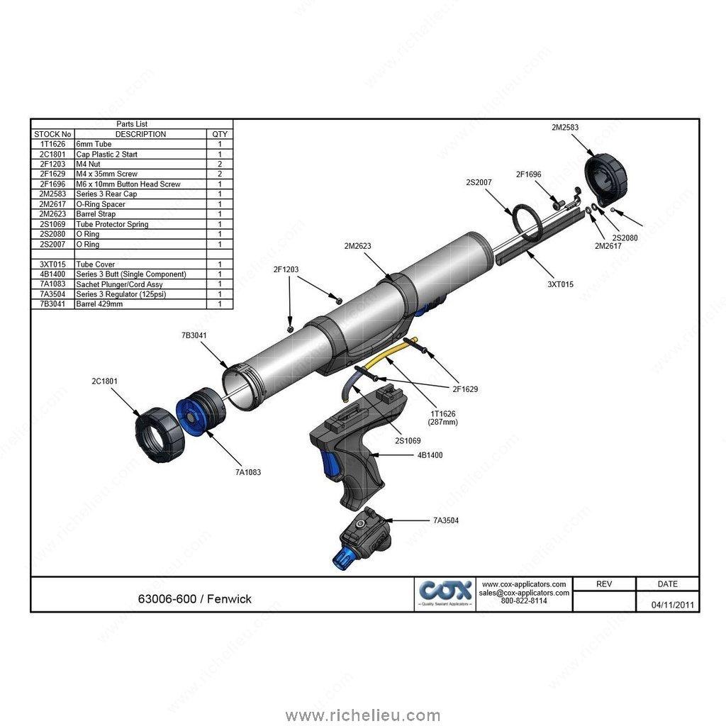Fenwick 600 Pneumatic Caulking Gun For 600 Ml Sausage Hi