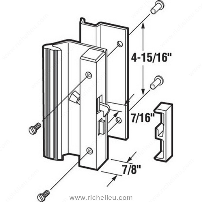 Low Profile, Hook Style Patio Door Handle Set
