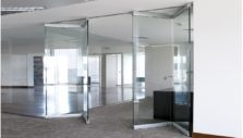 All-Glass Accordion Panels with Aluminum Glass Retention Profile